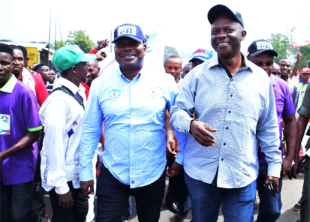 hon.-festus-okoh-and-other-leaders-leading-the-walk PDP YOUTHS SHUT DOWN OLD LAGOS ASABA ROAD FOR OKOWA